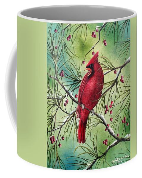 Cardinal Coffee Mug featuring the painting Cardinal by David G Paul