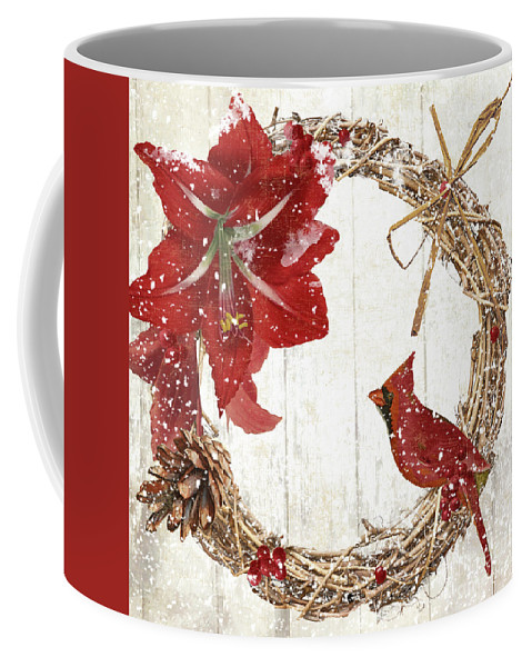 Cardinal Coffee Mug featuring the painting Cardinal Holiday II by Mindy Sommers