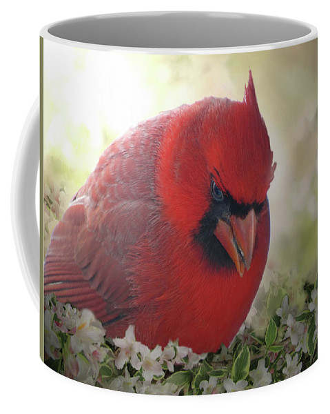 Nature Coffee Mug featuring the photograph Cardinal In Flowers by Debbie Portwood