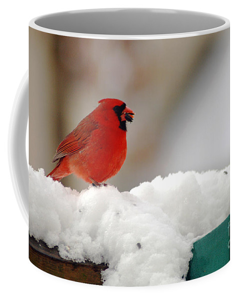 Clay Coffee Mug featuring the photograph Cardinal In Snow by Clayton Bruster