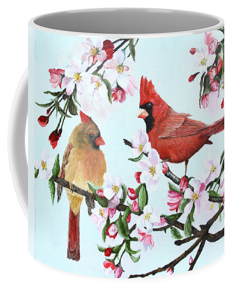 Bird Coffee Mug featuring the painting Cardinals And Apple Blossoms by Johanna Lerwick