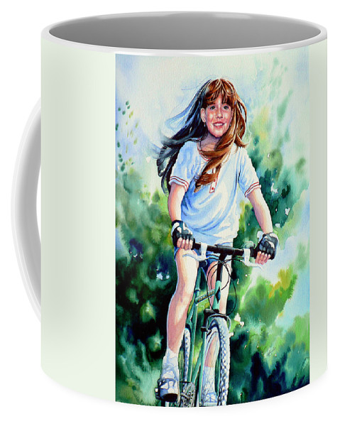 Watercolor Portrait Coffee Mug featuring the painting Carefree Summer Day by Hanne Lore Koehler