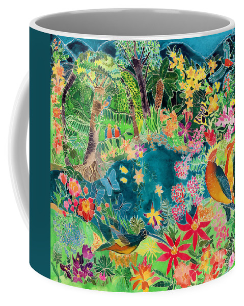Parrot; Hummingbird; Butterfly; Macaw; Tropical; Rainforest Coffee Mug featuring the painting Caribbean Jungle by Hilary Simon