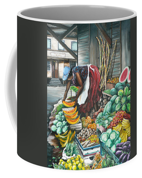 Caribbean Painting Market Vendor Painting Caribbean Market Painting Fruit Painting Vegetable Painting Woman Painting Tropical Painting City Scape Trinidad And Tobago Painting Typical Roadside Market Vendor In Trinidad Coffee Mug featuring the painting Caribbean Market Day by Karin Dawn Kelshall- Best