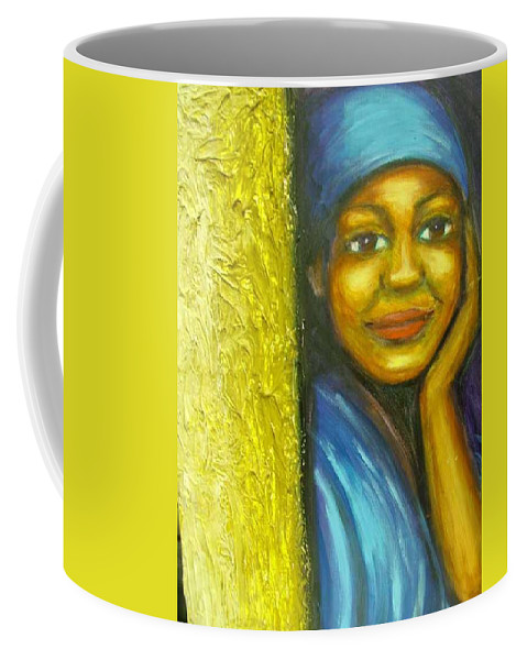 Coffee Mug featuring the painting Caribbean Mystery Lady by Jan Gilmore