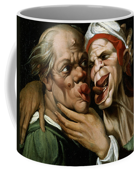 Grotesque; Kiss; Embrace; French; Seduce; Seduction; Sexual ;assault; Assaulting; Letcherous; Pervert; Perverted Coffee Mug featuring the painting Caricature by Passarotti