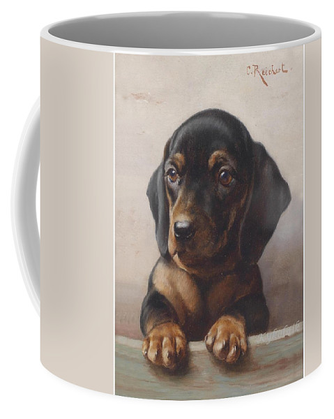 Dog Coffee Mug featuring the painting Carl Reichert 1836-1918 Junger Dackel 1918 by Carl Reichert