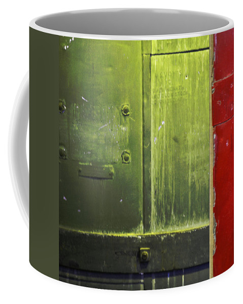 Metal Coffee Mug featuring the photograph Carlton 6 - Firedoor Abstract by Tim Nyberg