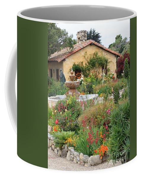 Carmel Mission Courtyard Coffee Mug featuring the photograph Carmel Mission Courtyard Garden by Carol Groenen