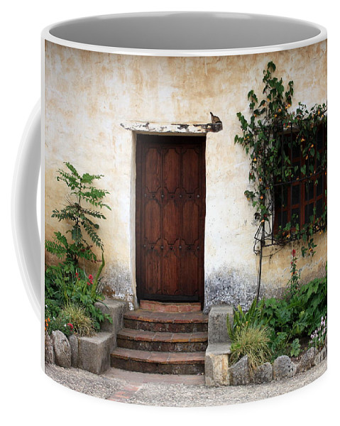 Carmel Mission Coffee Mug featuring the photograph Carmel Mission Door by Carol Groenen