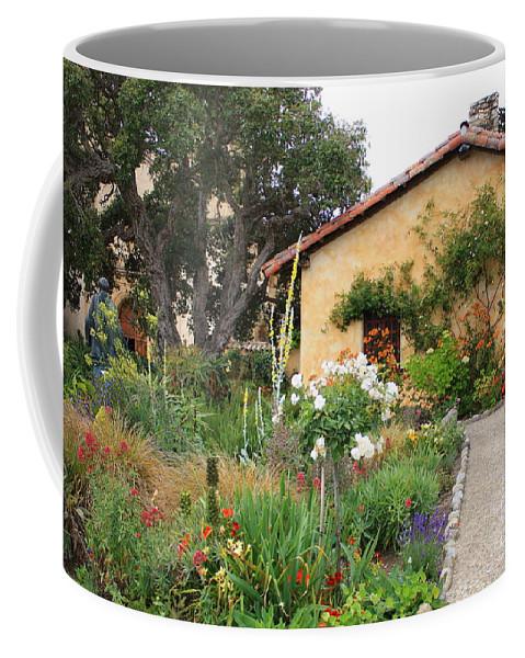 Carmel Coffee Mug featuring the photograph Carmel Mission With Path by Carol Groenen