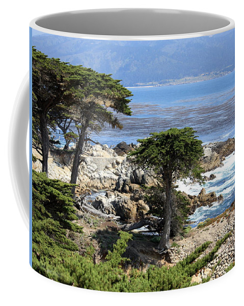 California Coffee Mug featuring the photograph Carmel Seaside With Cypresses by Carol Groenen
