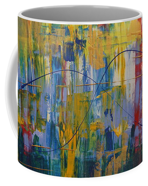 Abstract Coffee Mug featuring the painting Carnival by Jimmy Clark