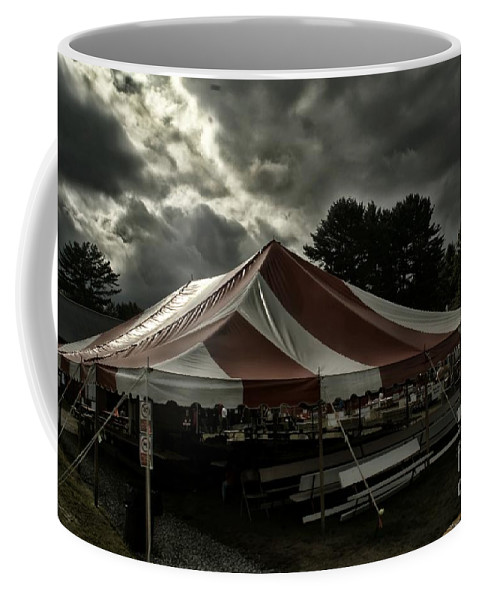 Overcast Sky Coffee Mug featuring the photograph Carnival Tents by Catherine Melvin