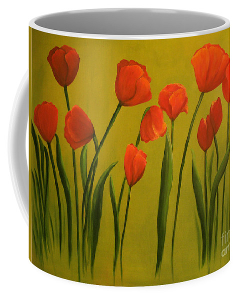 Red Coffee Mug featuring the painting Carolina Tulips by Carol Sweetwood