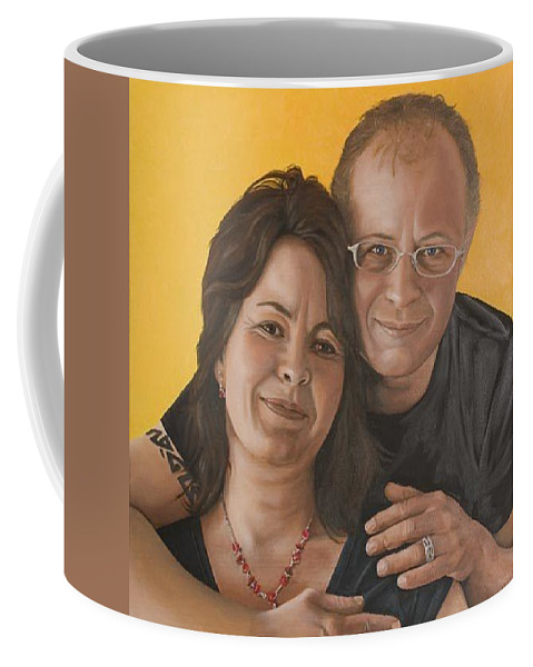 Portrait Coffee Mug featuring the painting Caroline And Rob by Rob De Vries