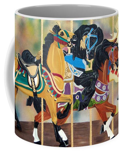 Carousel Coffee Mug featuring the painting Carousel Beauties by Debbie LaFrance