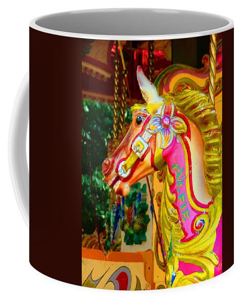 Alfie Coffee Mug featuring the photograph Carousel Horse London Alfie England by Heather Lennox