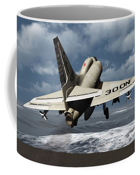 Aviation Coffee Mug featuring the digital art Carrier Launch by Richard Rizzo