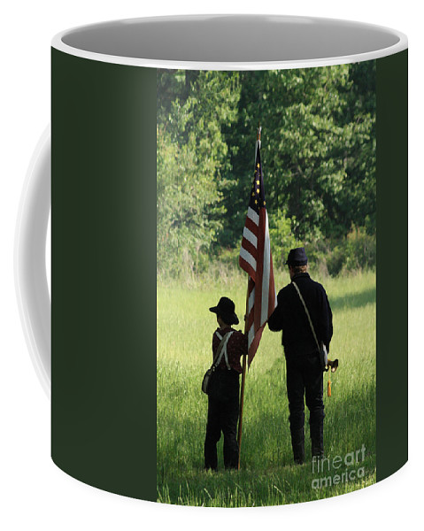 Civil War Re-enactment Coffee Mug featuring the photograph Carrier of the Flag by Kim Henderson