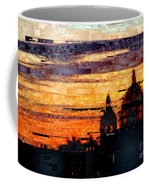 Rafael Salazar Coffee Mug featuring the digital art Cartagena Colombia Night Skyline by Rafael Salazar