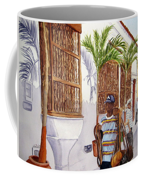 Landscape Coffee Mug featuring the painting Cartagena Peddler I by Julia RIETZ