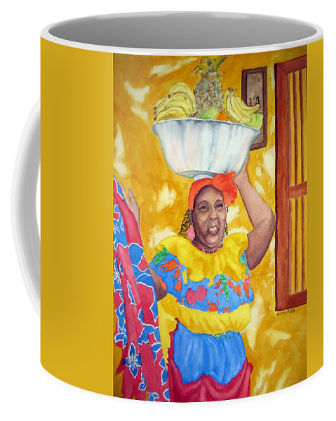 Cartagena Coffee Mug featuring the painting Cartagena Peddler II by Julia RIETZ