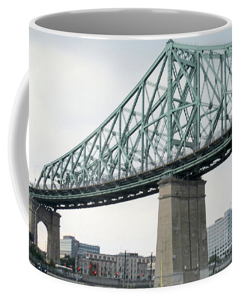Jacques Cartier Bridge Coffee Mug featuring the photograph Cartier Bridge Day by Randall Weidner