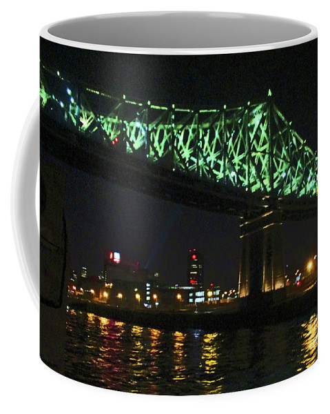 Jacques Cartier Bridge Coffee Mug featuring the photograph Cartier Bridge Night by Randall Weidner