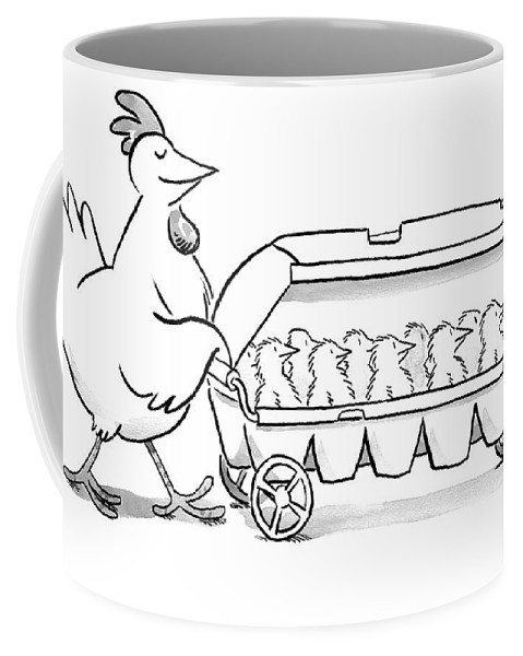 Hen Coffee Mug featuring the drawing Carton Of Chicks by Robert Leighton