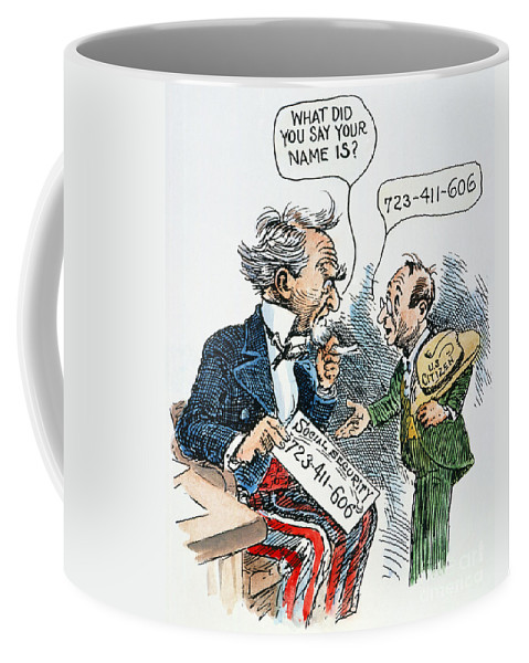1935 Coffee Mug featuring the photograph Cartoon: New Deal, 1935 by Granger