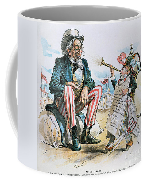 1893 Coffee Mug featuring the photograph Cartoon: Uncle Sam, 1893 by Granger