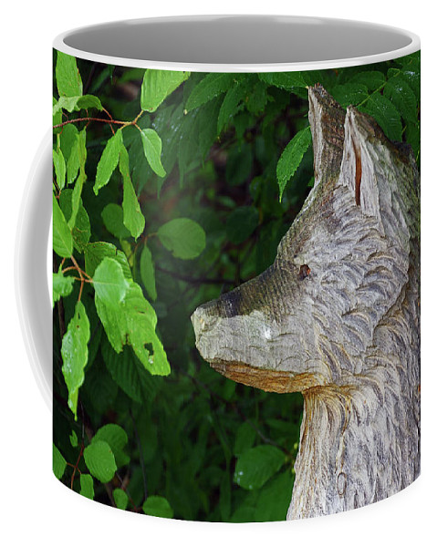 Wooden Coffee Mug featuring the photograph Carved Dogs Head by Deborah Bowie