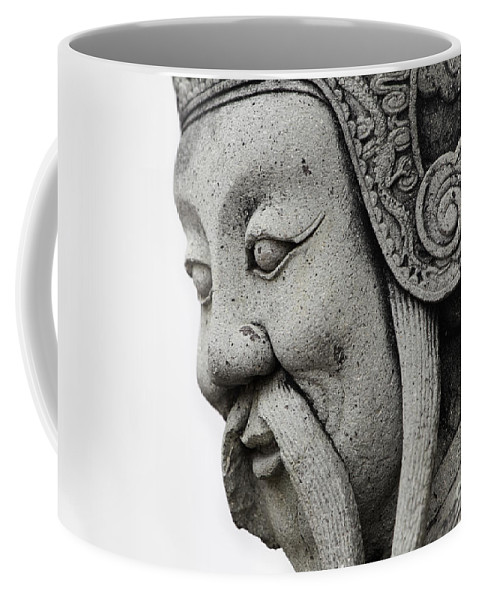 Artifact Coffee Mug featuring the photograph Carved Monk Statue by Anthony Totah