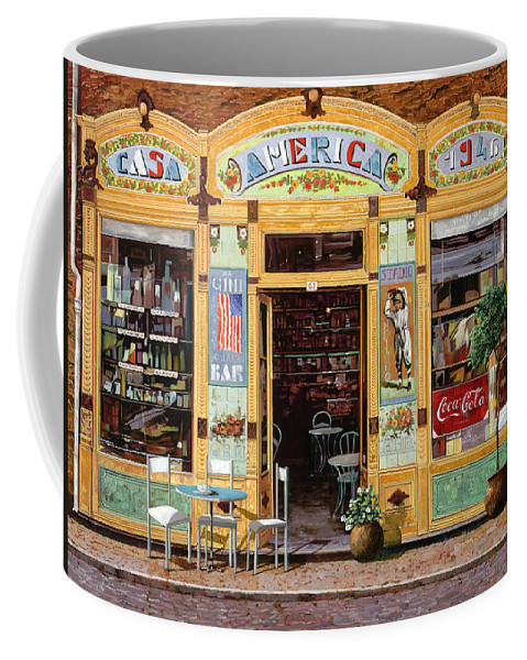 Coffe Shop Coffee Mug featuring the painting Casa America by Guido Borelli