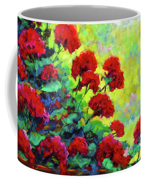 Art Original Coffee Mug featuring the painting Cascade Of Geraniums by Richard T Pranke