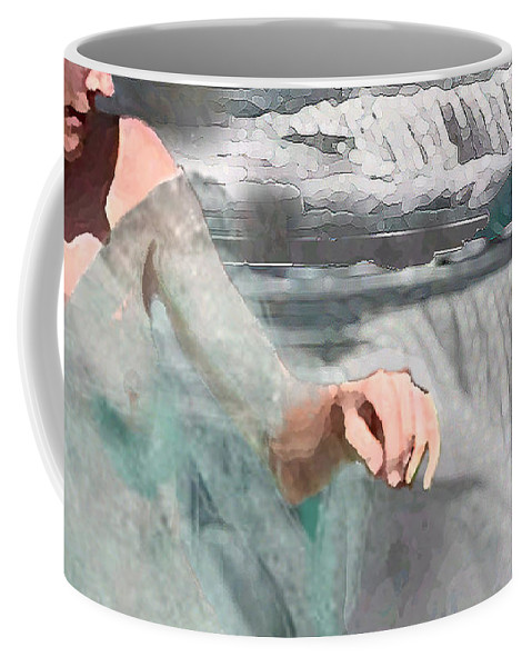 Waterscape Coffee Mug featuring the digital art Cascade by Steve Karol