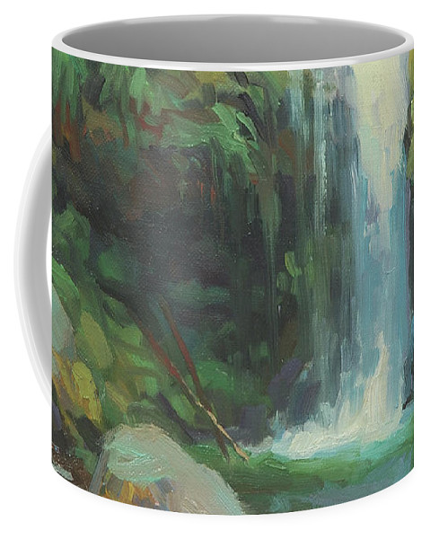 Waterfall Coffee Mug featuring the painting Cascadia by Steve Henderson