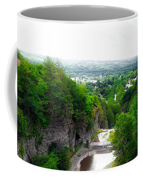 Cornell University Coffee Mug featuring the photograph Cascadilla Gorge Cornell University Ithaca New York Panorama by Thomas Woolworth