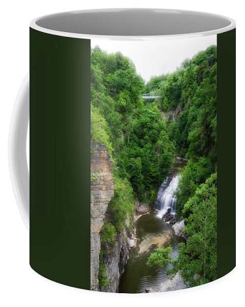Cornell University Coffee Mug featuring the photograph Cascadilla Waterfalls Cornell University Ithaca New York 01 by Thomas Woolworth