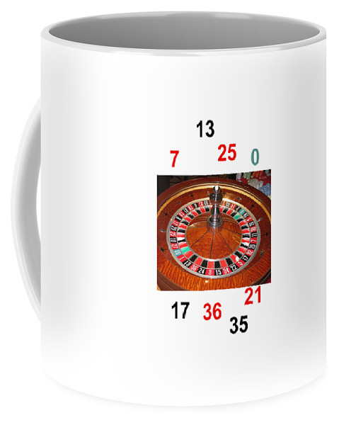 Casino Coffee Mug featuring the photograph Casino Roulette Wheel Lucky Numbers by Tom Conway