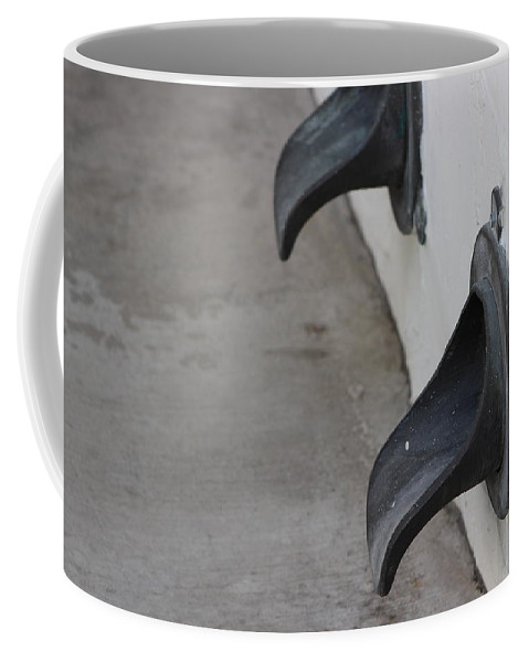 Water Spout Coffee Mug featuring the photograph Cast Iron Rain Spouts In Stucco Building Photograph By Colleen by Colleen Cornelius