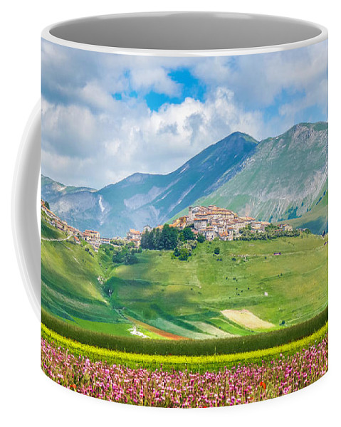 Abruzzo Coffee Mug featuring the photograph Castelluccio Di Norcia With Beautiful Summer Fields by JR Photography