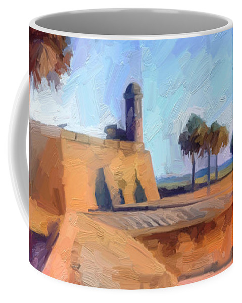 St. Augustine Coffee Mug featuring the digital art Castillo Rampart by Scott Waters