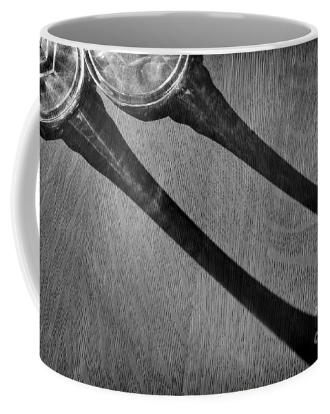 Abstract Coffee Mug featuring the photograph Casting Shadows Black And White by Karen Adams