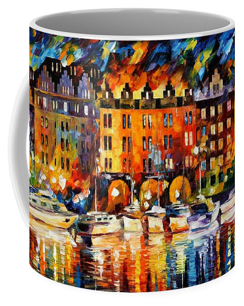 Afremov Coffee Mug featuring the painting Castle By The River by Leonid Afremov