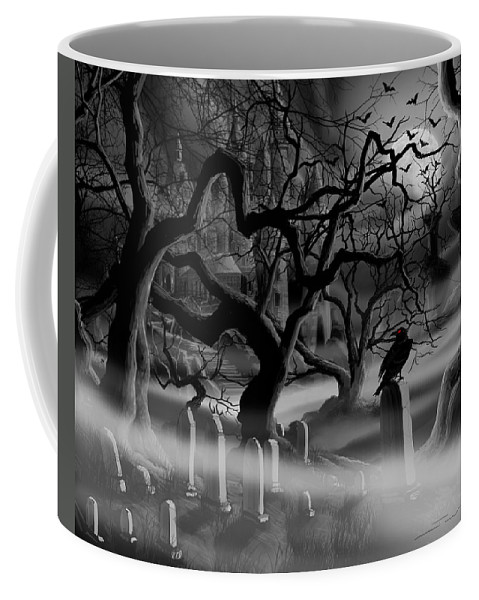 Castle Coffee Mug featuring the painting Castle Graveyard I by James Christopher Hill