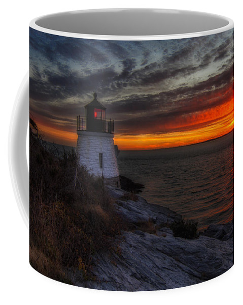 Lighthouse Coffee Mug featuring the photograph Castle Hill Lighthouse Sunset by John Vose