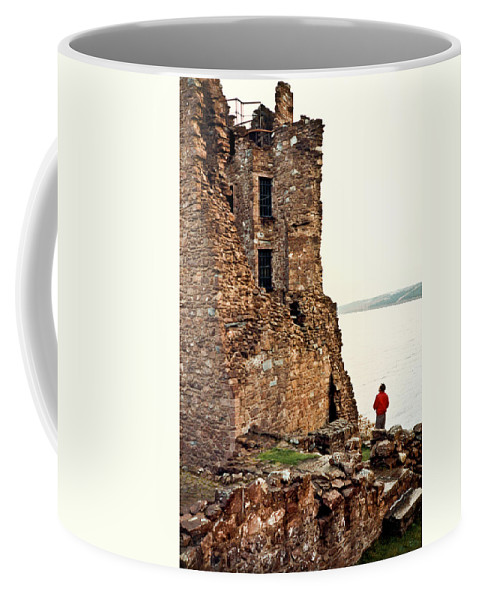 Castle Coffee Mug featuring the photograph Castle Ruins On The Seashore In Ireland by Douglas Barnett
