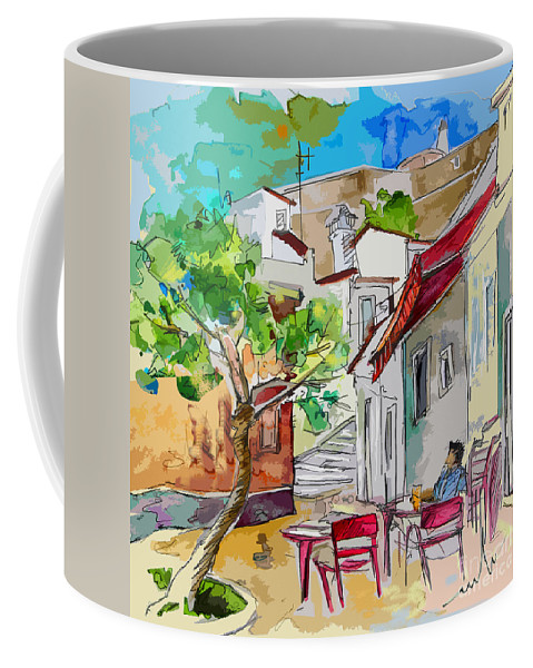 Castro Marim Portugal Algarve Painting Travel Sketch Coffee Mug featuring the painting Castro Marim Portugal 01 Bis by Miki De Goodaboom